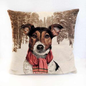 Cuscino jaquard cane con sciarpa Jack Russell Terrier